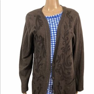 Coldwater Creek long embroidered cardigan, EUC